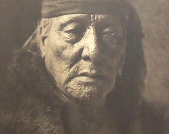 Chief Bear's Teeth by Edward Curtis, Arikara, Native American Indian Man, Vintage Sepia 14x17 Bookplate Art Print, FREE SHIPPING