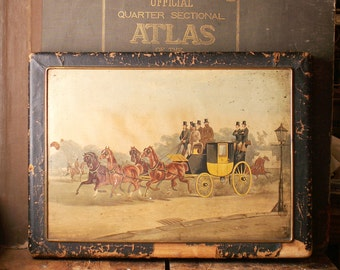 Antique Leather Covered Divided Wood Box topped with Horse and Buggy Painting - J.E. Caldwell & Co. Phila.