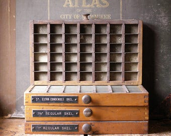 Vintage Printers Typesetting Drawers - Great Organizing Trays for Tiny Things in the Craft Room - Four Available