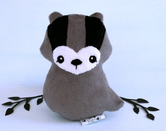 Badger Plushie. Honey Badger Plush, Stuffed Toy, Badger Softie, Soft sculpture, Badger Doll, Minky Plush, Loyal Badger, Woodland Softie
