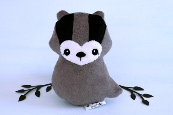 Badger Plushie. Honey Badger Plush, Stuffed Toy, Badger Softie, Soft sculpture, Badger Doll, Minky Plush, Loyal Badger, Woodland Softie