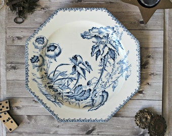 French antiques ironstone flower plate Clairefontaine collection cottage 1890s shabby chic chateau