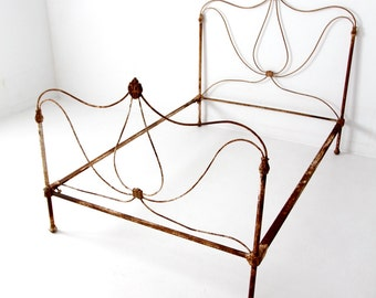 antique iron bed, white iron full size bed frame