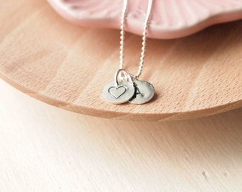 Personalised Initial with Heart - Monogram Necklace with charm - Gift for Girlfriend - Heart Pendant - Initial Charm Necklace
