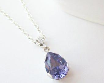 Five Bridesmaid Necklaces,Set of 5 Bridesmaid, Purple Bridesmaid Jewelry, Five Necklaces, Tanzanite, Swarovski Necklace, Bridesmaid Necklace