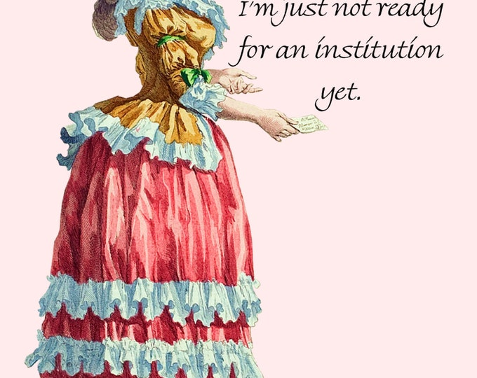 "Marriage Is A Great Institution. I'm Just Not Ready For An Institution Yet. ~Marie Antoinette 4"" x 6"" Postcards - Free Shipping in USA"