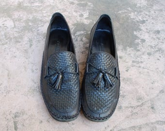 Vintage Womens 10.5b Cole Haan Country Leather Black Slip On Tassel Loafers Woven Braided Preppy Boho Dress Casual Flats Round Toe Oxfords
