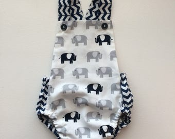 Elephant Navy Blue White and Gray Baby Bubble Romper Bodysuit Playsuit