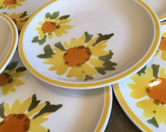 Vintage Mikasa Flora 3179 Salad Plates Cera-Stone Yellow & Orange Sunflowers Japan - #A2137