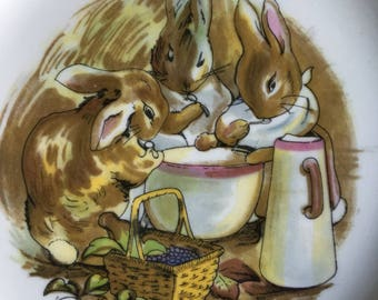 Vintage Peter Rabbit Wedgwood Bread & Butter Plate Beatrix Potter Design Made In England - #D2283