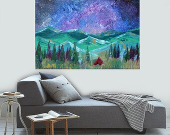READY TO SHIP: Lets Go Camping V.2 Star Gazing Night Sky Woodland Nature Cabin Home Decor