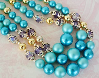 Vintage Triple-Stranded Necklace in Blue, Silver, Gold and Purple Made in Japan