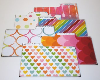 Recipe Divider Cards, Set of 6, Rainbow Dividers, Colorful Tabs, 4x6 Recipe Dividers, Polka Dot Recipe Dividers, Colorful Kitchen