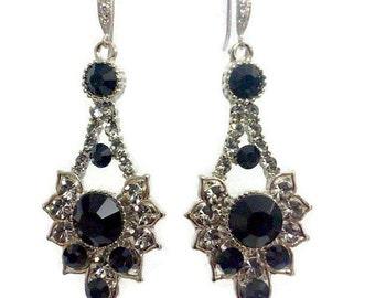 Gothic Earrings, Black Earrings, Art Deco Wedding Earrings, Geometric Earrings, Swarovski Crystal Bridesmaid Jewelry, Gift for Her, RAYS