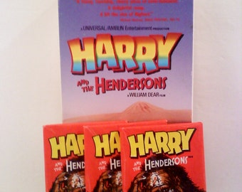 Harry and the Hendersons VHS Movie and 3 Packs Unopened Trading Cards