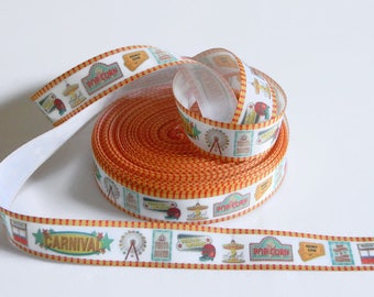 """Carnival Ribbon 5 yards 7/8"""" White Circus Ribbon for Hair Bows Scrapbook Carnival Circus Big Top Party Ticket Booth Ferris Wheel Popcorn"""