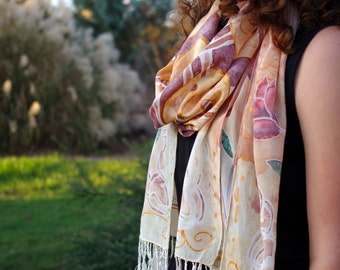 Handpainted Celtic Knot Silk Scarf  |   Pink
