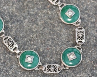 EXQUISITE Art Deco Jade Peking Glass Filigree Link Bracelet,Sterling Silver Filigree Bracelet,1920s Bracelet,Paste Rhinestone,Something Old