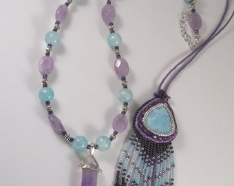 OOAK Extra Long BOHO Necklace Set - Embroidery Larimar Amethyst Beaded Fringe Crystal Metaphysical Trendy High Quality Gemstone Gift For Her
