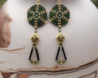 Beaded Earrings - Round Lightweight Beadwork Earrings - Seed Bead - Celtic Earrings - Green & Gold - 3 Inch Long Earrings - Drop Earrings