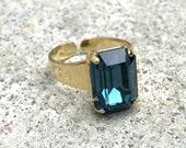 Montana Sapphire Ring, Dark Blue Ring, Swarovski Crystal Montana Blue Ring, Rectangle Octagon Princess Cut Ring