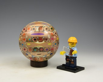 Artists colouring pencils & resin sphere, woodturning, gift,