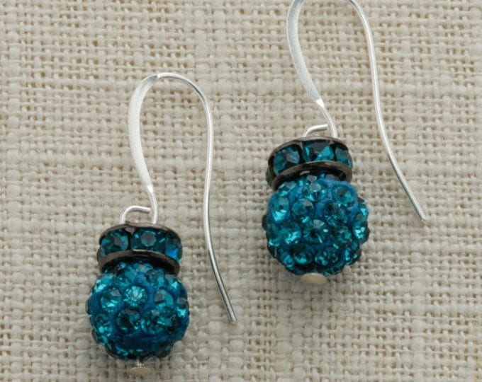 Teal Turquoise Silver Earring French Hooks Handcrafted 6H