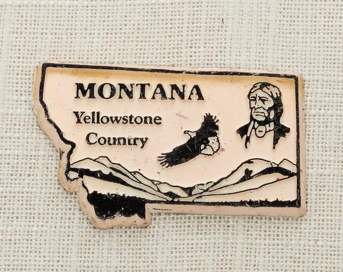 Montana Vintage Silhouette State Magnet Yellowstone Country Glacier Travel Tourism Summer Vacation Memento | USA America 'Merica | Fridge 5S