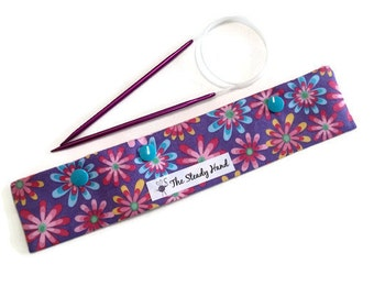 """Large Pretty Colorful Flowers on Purple Background Knitting Needles DPN Circular Project Holder for needles up to 9-1/2"""" long S214"""