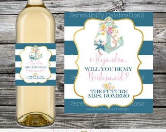 Nautical Will You Be My Bridesmaid Wine Bottle Label, Wine Bottle Label, Personalized Wine Bottle Label, Wedding, Bridal Shower, Wine Label