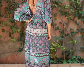 Boho maxi dress, open back dress, kaftan dress, wild spirit