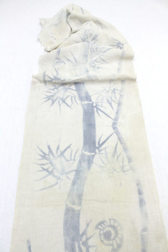 Japanese Vintage Cotton.  Indigo Inky Dyed Soft Fabric. Mysterious Bamboo Design (Ref: 1539)