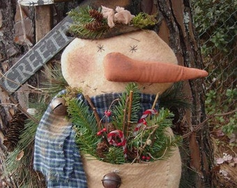 Primitive Christmas Snopal Snowman Mailed Pattern