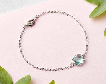 Dainty Silver Bracelet - Aquamarine Bracelet, Bridesmaid Jewellery, Gifts for her, Stacking Bracelet, Friendship Bracelet, Aquamarine Stone