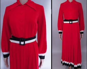 Vintage Maxi Dress//Toni Todd//Designer//Red//Black//Red//1970s Dress//70s Maxi Dress