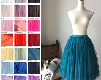60cm Knee Soft Tulle Thick 4 Tier Layer Tutu Skirt Dance Show Wedding Teal Blue