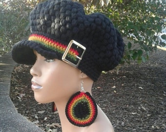 MADE TO ORDER Black puff stitch Newsboy Hat/ Beanie with brim/ Rasta Stripes strap and Silver buckle and free matching crochet earrings