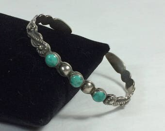 Vintage Navajo Coin Silver & Turquoise Cuff Bracelet Circa 1920s, Small Size