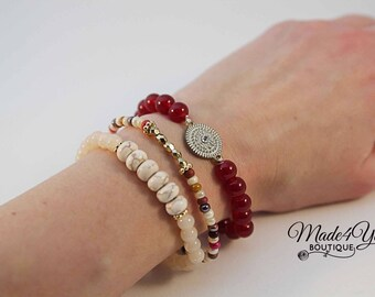 Red Boho Bracelet Set - Gemstone Bracelet Set