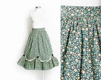 Vintage 40s Skirt - Floral Cotton Full Skirt High Waist 1940s - Extra Small XS