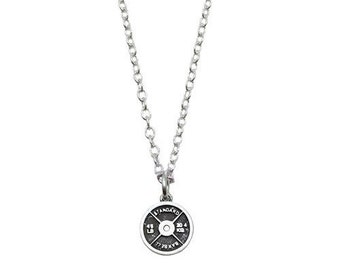 Small Sterling Silver Weight Plate Necklace