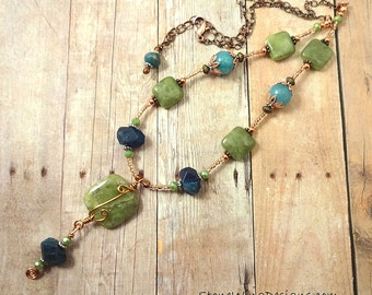 Rustic Boho Necklace, Blue and Green, Gemstone Necklace, Chunky Stone, Pendant Necklace, Colorful Jewelry, Mixed Metal, StoneWing Designs
