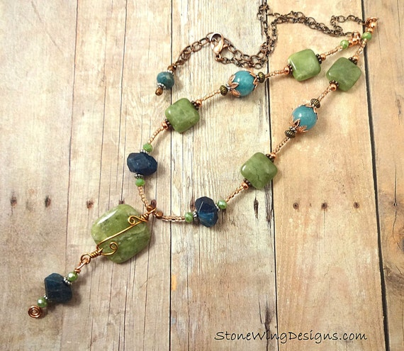 Blue Apatite, Green Garnet, Angelite and Copper Necklace