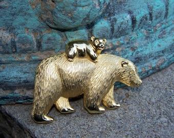 Adorable Bear & Cub Brooch ~ Signed Tona ~ Vintage Gold Tone Jewelry