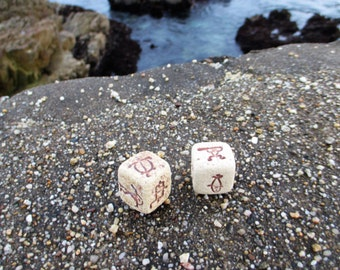 Petroglyph dice from Hawaii, a different symbol on every side