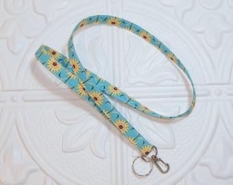Fabric Lanyard - Teacher Lanyard - Key Lanyard - Id Badge Holder - Flower Lanyard