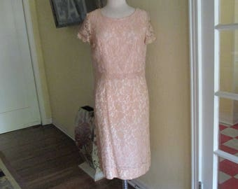 1950s Pink Lace Dress Cap Sleeves By Grace Taylor Originals / Size Med Large Dress