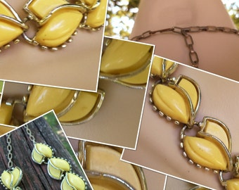 SALE Vintage Choker & Bracelet Set Pale Yellow Flower Petal Design Gold Tone Solid and Prong Like Edging