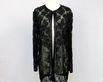 Black Lace Jacket - Beaded - Lace Jacket - Vintage