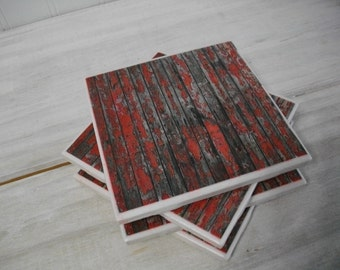 Red Rustic Coasters - Red Barnwood Distressed Vintage Style Tile Coasters Set of 4